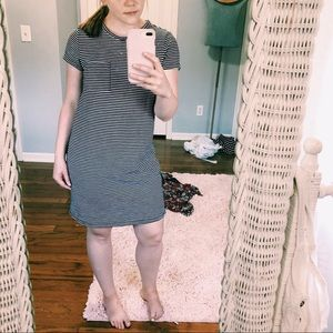 Old Navy Black & White Striped Cotton Dress